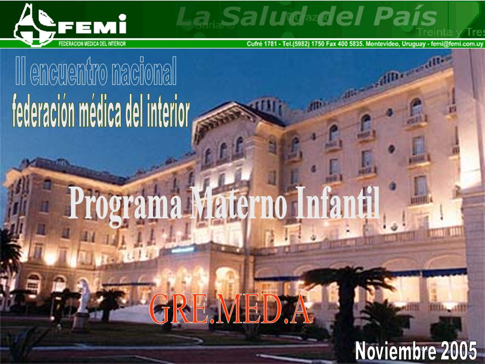Desarrollo en 2 etapas: Asistencia Centralizada en policlínicas institucionales Asistencia descentralizada periférica (barrios Artigas) Programa MATERNO INFANTIL