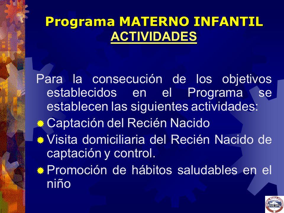 Para la consecución de los objetivos establecidos en el Programa se establecen las siguientes actividades: Captación del Recién Nacido Visita domicili