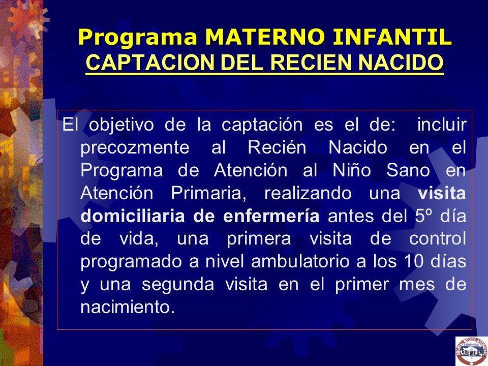 El objetivo de la captación es el de: incluir precozmente al Recién Nacido en el Programa de Atención al Niño Sano en Atención Primaria, realizando un