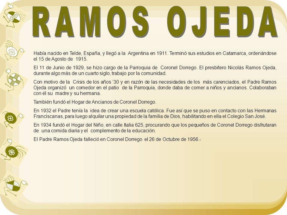 Había nacido en Telde, España, y llegó a la Argentina en 1911. Terminó sus estudios en Catamarca, ordenándose el 15 de Agosto de 1915. El 11 de Junio