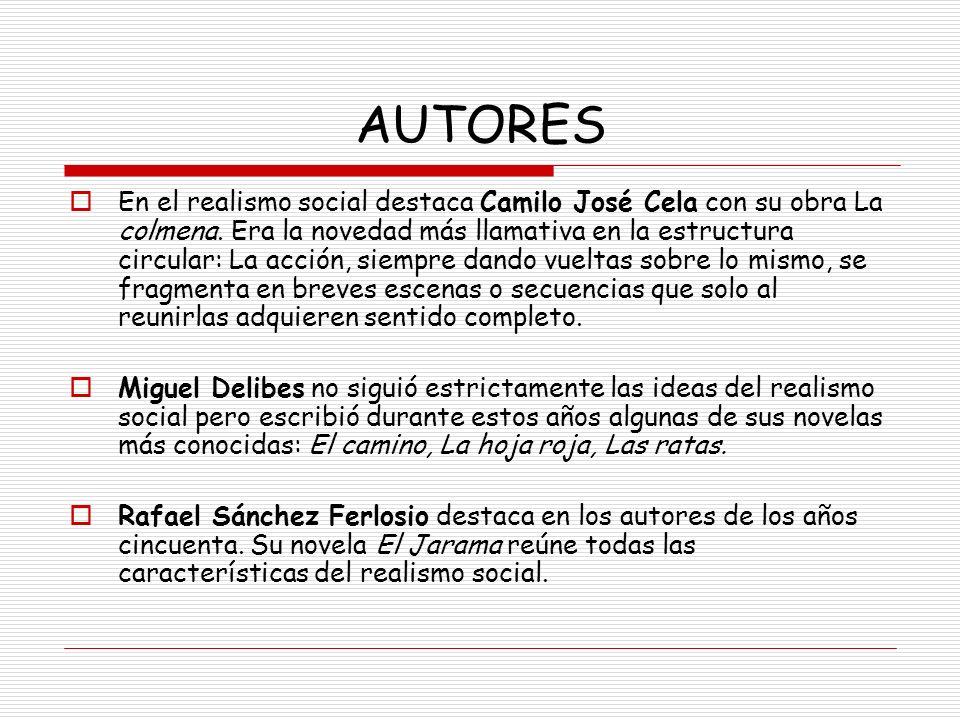 AUTORES En el realismo social destaca Camilo José Cela con su obra La colmena. Era la novedad más llamativa en la estructura circular: La acción, siem