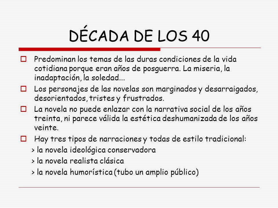DÉCADA DE LOS 40 Predominan los temas de las duras condiciones de la vida cotidiana porque eran años de posguerra. La miseria, la inadaptación, la sol
