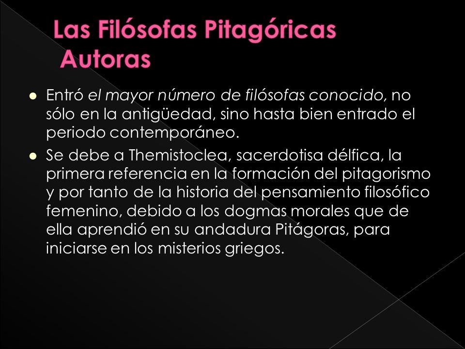 Entró el mayor número de filósofas conocido, no sólo en la antigüedad, sino hasta bien entrado el periodo contemporáneo.
