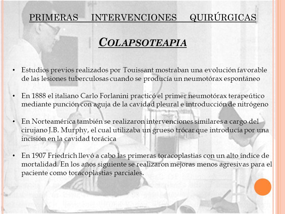 PRIMERAS INTERVENCIONES QUIRÚRGICAS C OLAPSOTEAPIA Estudios previos realizados por Touissant mostraban una evolución favorable de las lesiones tubercu