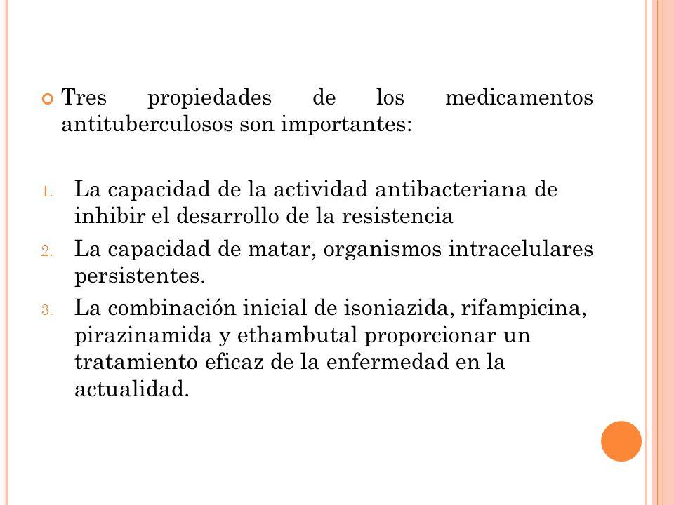Tres propiedades de los medicamentos antituberculosos son importantes: 1. La capacidad de la actividad antibacteriana de inhibir el desarrollo de la r