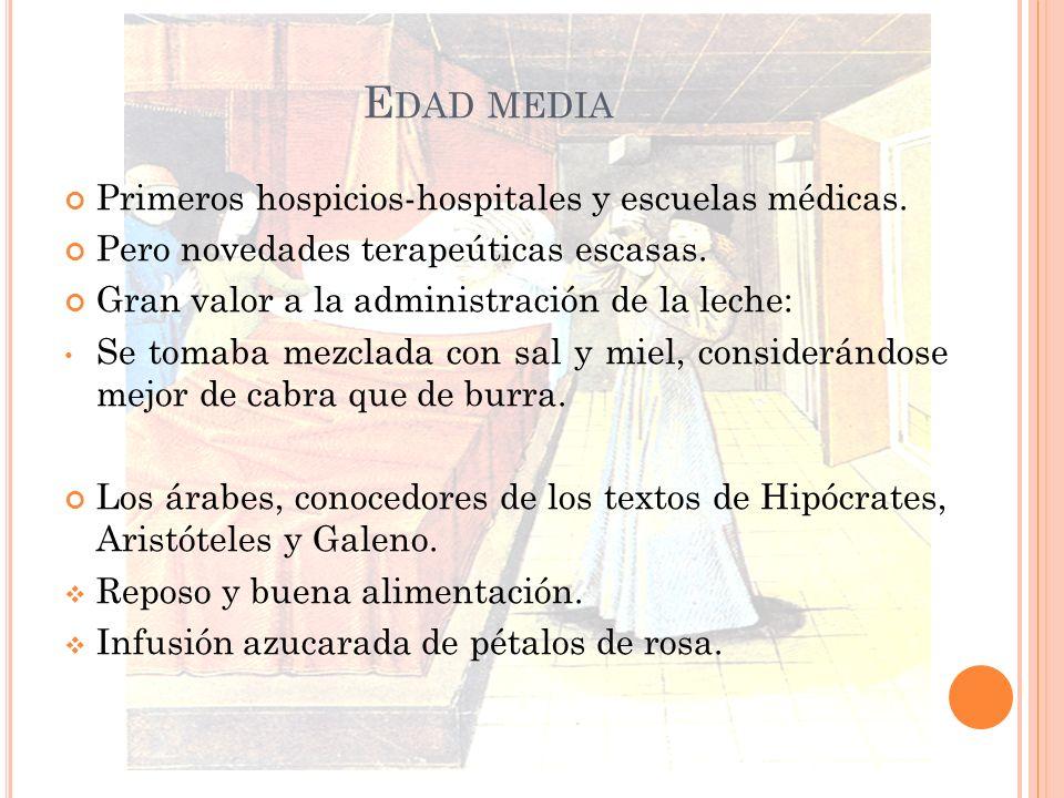 E DAD MEDIA Primeros hospicios-hospitales y escuelas médicas. Pero novedades terapeúticas escasas. Gran valor a la administración de la leche: Se toma