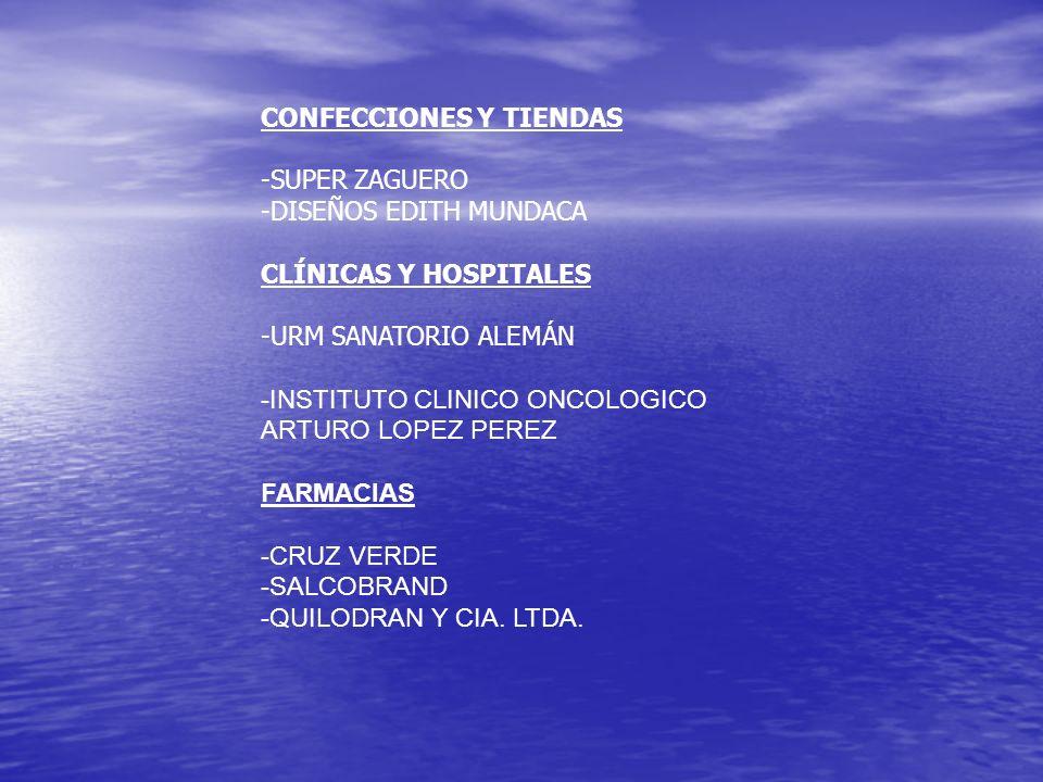 CONFECCIONES Y TIENDAS -SUPER ZAGUERO -DISEÑOS EDITH MUNDACA CLÍNICAS Y HOSPITALES -URM SANATORIO ALEMÁN -INSTITUTO CLINICO ONCOLOGICO ARTURO LOPEZ PE