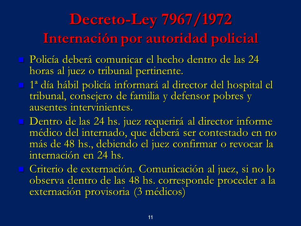 11 Decreto-Ley 7967/1972 Internación por autoridad policial Policía deberá comunicar el hecho dentro de las 24 horas al juez o tribunal pertinente. Po