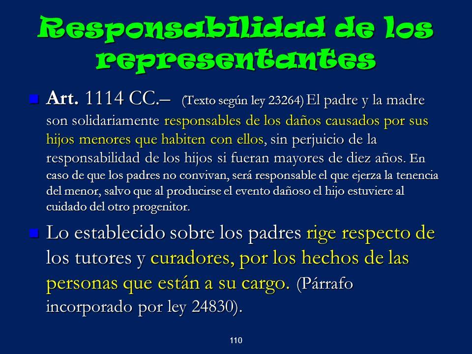 Responsabilidad de los representantes Art. 1114 CC.– (Texto según ley 23264) El padre y la madre son solidariamente responsables de los daños causados