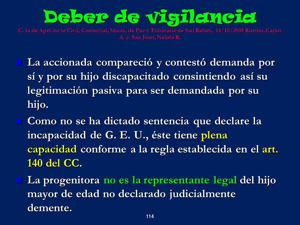 Deber de vigilancia C. 1a de Apel. en lo Civil, Comercial, Minas, de Paz y Tributario de San Rafael, 14/10/2005 Ruston, Carlos A. c. San Juan, Nélida