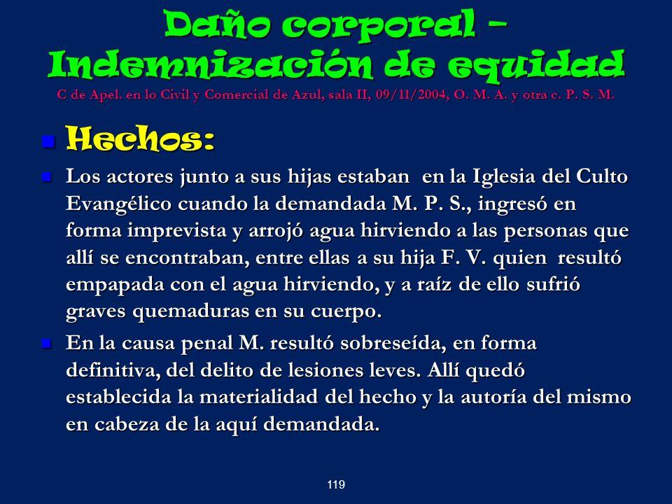 Daño corporal – Indemnización de equidad C de Apel. en lo Civil y Comercial de Azul, sala II, 09/11/2004, O. M. A. y otra c. P. S. M. Hechos: Hechos: