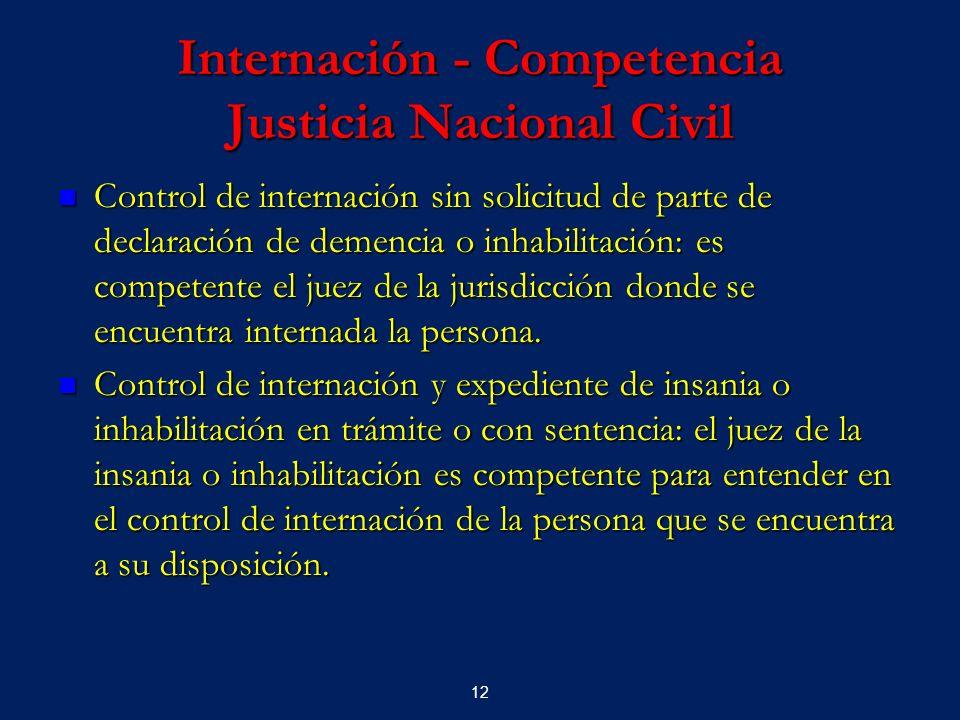 12 Internación - Competencia Justicia Nacional Civil Control de internación sin solicitud de parte de declaración de demencia o inhabilitación: es com