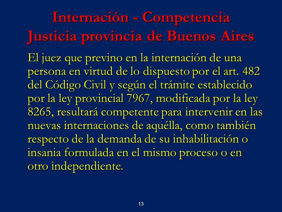 13 Internación - Competencia Justicia provincia de Buenos Aires El juez que previno en la internación de una persona en virtud de lo dispuesto por el