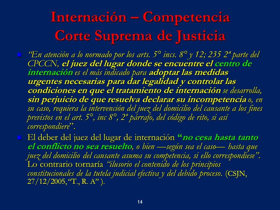 14 Internación – Competencia Corte Suprema de Justicia En atención a lo normado por los arts. 5° incs. 8° y 12; 235 2ª parte del CPCCN, el juez del lu