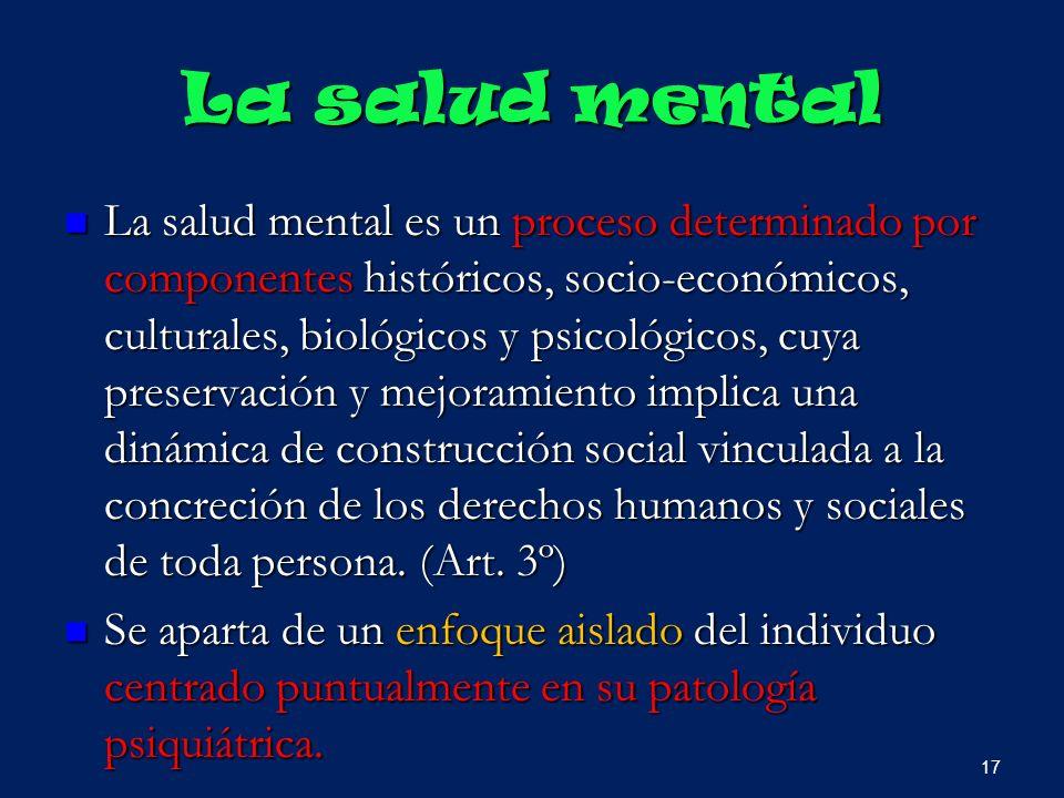 La salud mental La salud mental es un proceso determinado por componentes históricos, socio-económicos, culturales, biológicos y psicológicos, cuya pr
