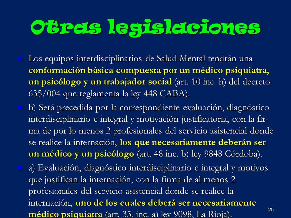 Otras legislaciones Los equipos interdisciplinarios de Salud Mental tendrán una conformación básica compuesta por un médico psiquiatra, un psicólogo y