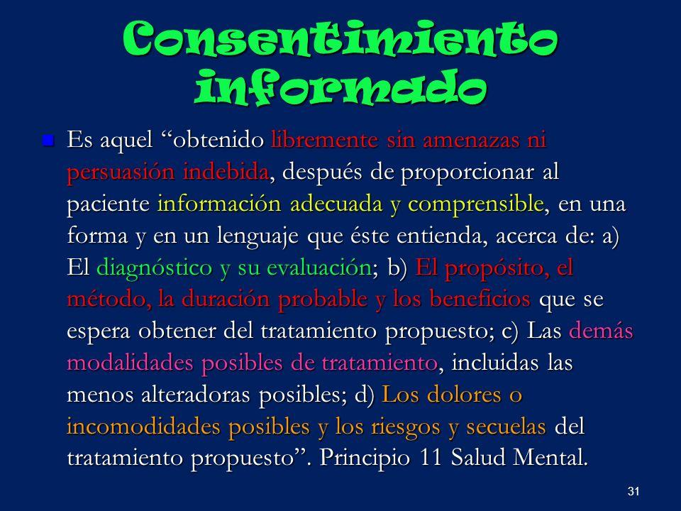 Consentimiento informado Es aquel obtenido libremente sin amenazas ni persuasión indebida, después de proporcionar al paciente información adecuada y