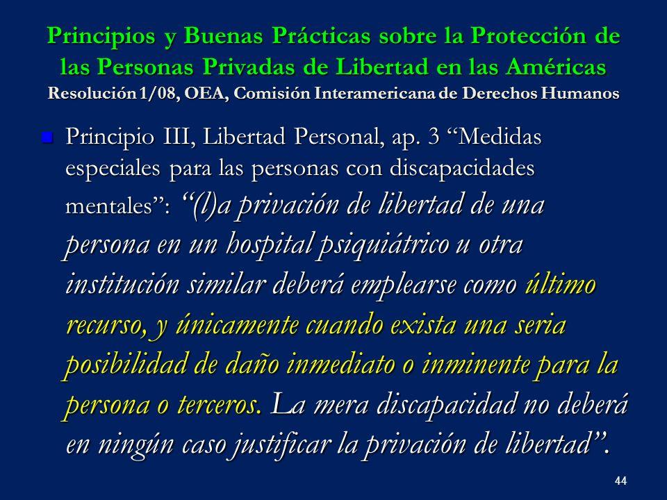 Principios y Buenas Prácticas sobre la Protección de las Personas Privadas de Libertad en las Américas Resolución 1/08, OEA, Comisión Interamericana d