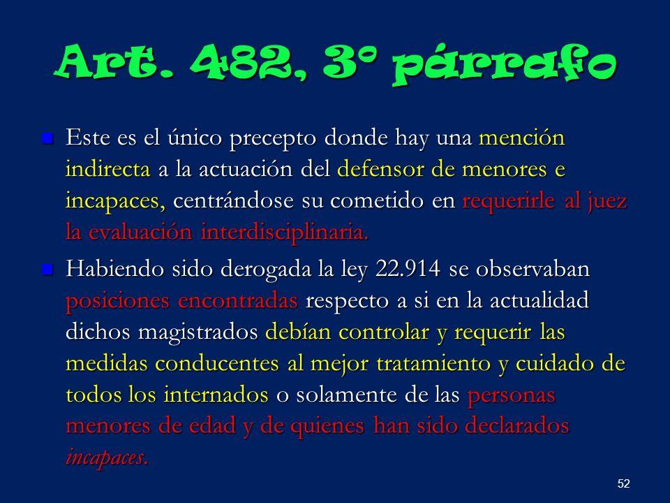 Art. 482, 3º párrafo Este es el único precepto donde hay una mención indirecta a la actuación del defensor de menores e incapaces, centrándose su come