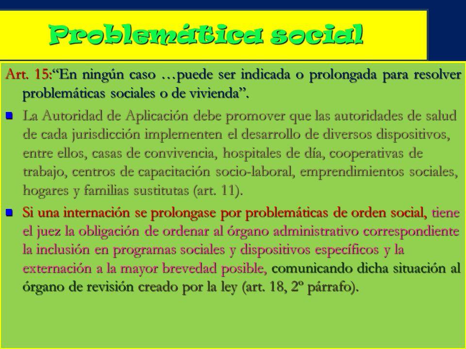 6 Problemática social Art. 15:En ningún caso …puede ser indicada o prolongada para resolver problemáticas sociales o de vivienda. La Autoridad de Apli