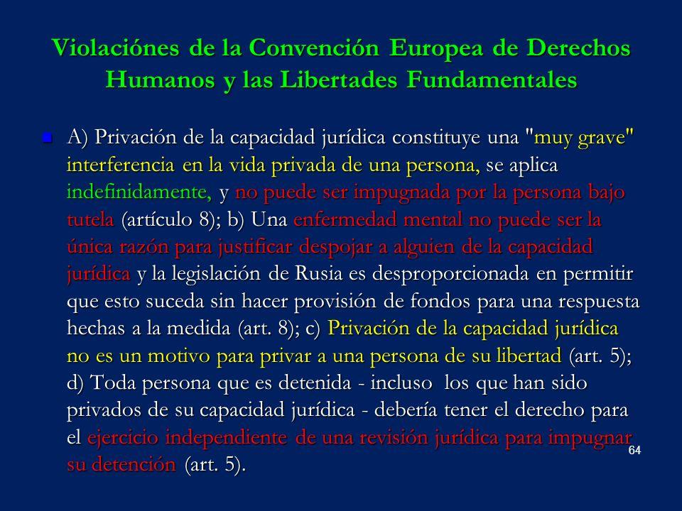 Violaciónes de la Convención Europea de Derechos Humanos y las Libertades Fundamentales A) Privación de la capacidad jurídica constituye una