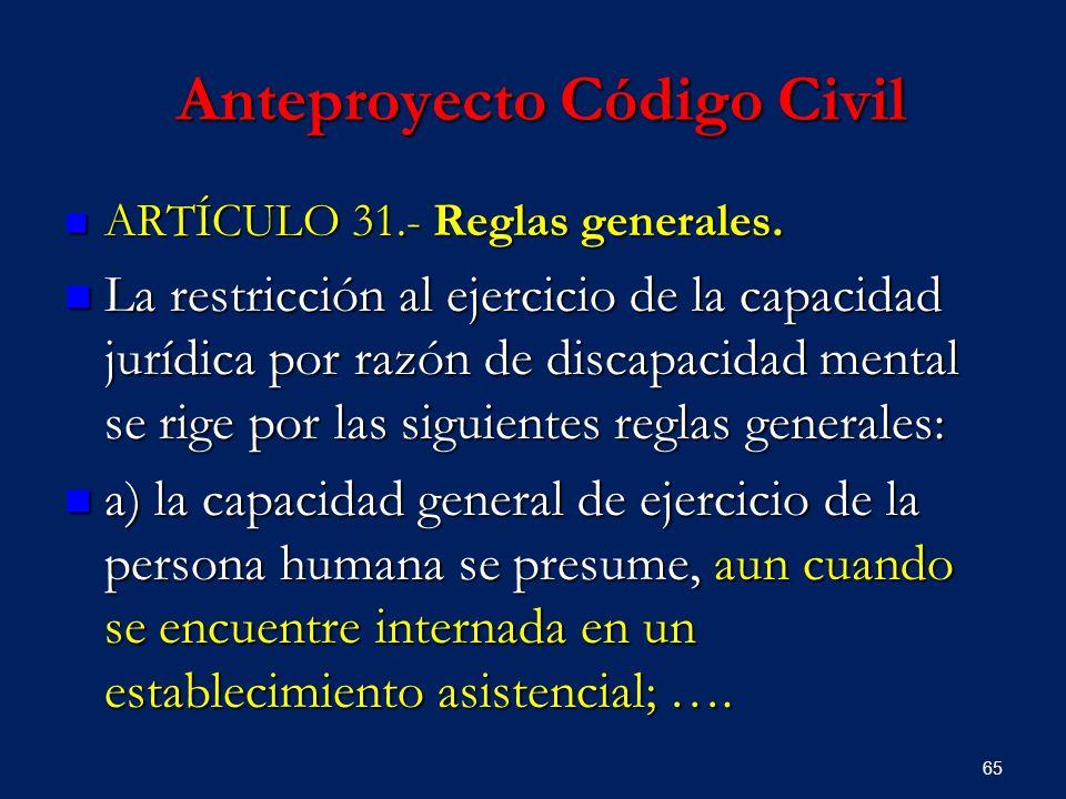 Anteproyecto Código Civil Anteproyecto Código Civil ARTÍCULO 31.- Reglas generales. ARTÍCULO 31.- Reglas generales. La restricción al ejercicio de la