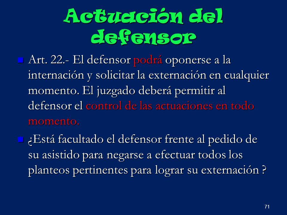 Actuación del defensor Art. 22.- El defensor podrá oponerse a la internación y solicitar la externación en cualquier momento. El juzgado deberá permit
