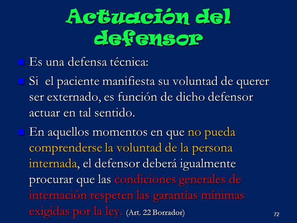 Actuación del defensor Es una defensa técnica: Es una defensa técnica: Si el paciente manifiesta su voluntad de querer ser externado, es función de di