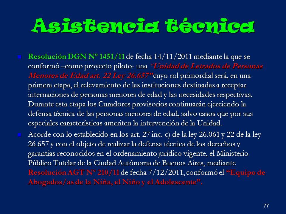 Asistencia técnica Resolución DGN Nº 1451/11 de fecha 14/11/2011 mediante la que se conformó –como proyecto piloto- una Unidad de Letrados de Personas
