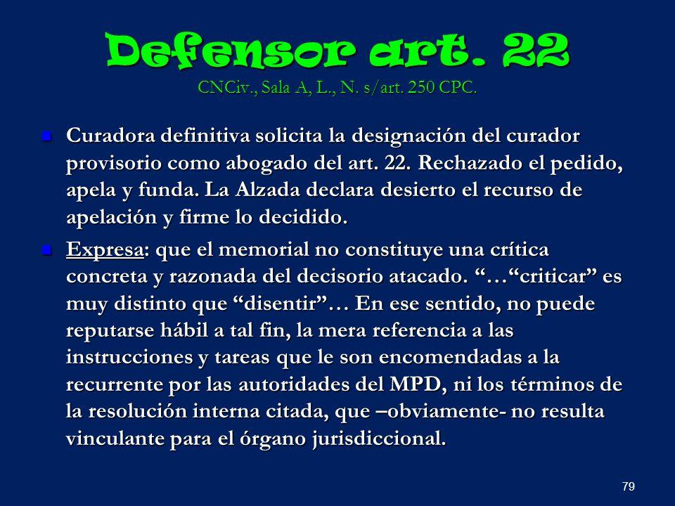 Defensor art. 22 CNCiv., Sala A, L., N. s/art. 250 CPC. Curadora definitiva solicita la designación del curador provisorio como abogado del art. 22. R