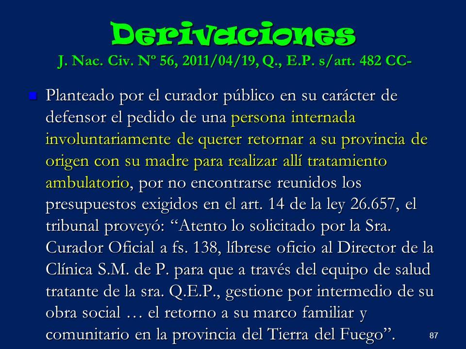 Derivaciones J. Nac. Civ. Nº 56, 2011/04/19, Q., E.P. s/art. 482 CC- Planteado por el curador público en su carácter de defensor el pedido de una pers