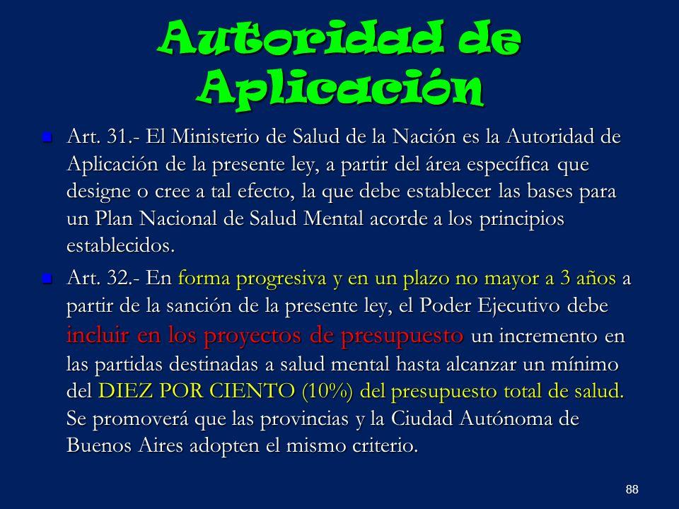 Autoridad de Aplicación Art. 31.- El Ministerio de Salud de la Nación es la Autoridad de Aplicación de la presente ley, a partir del área específica q
