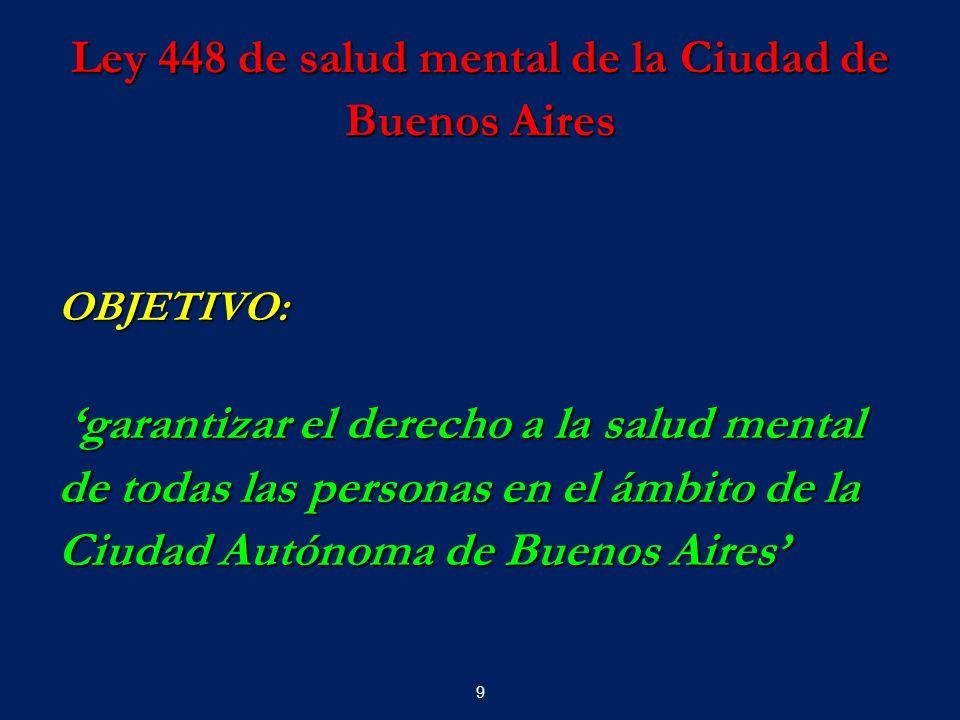 9 Ley 448 de salud mental de la Ciudad de Buenos Aires OBJETIVO: garantizar el derecho a la salud mental garantizar el derecho a la salud mental de to