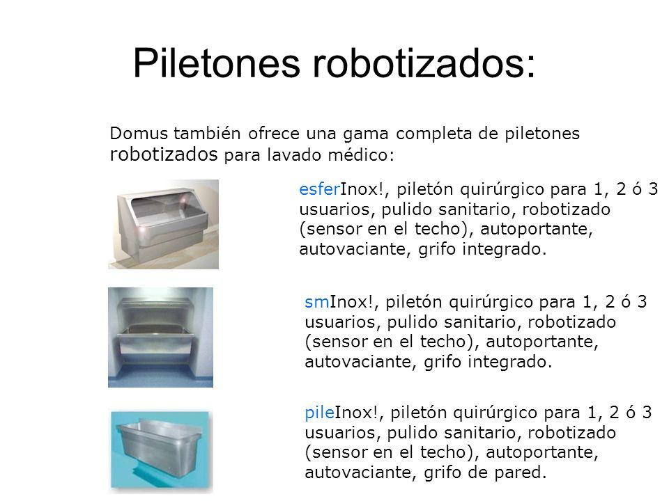 Piletones robotizados: esferInox!, piletón quirúrgico para 1, 2 ó 3 usuarios, pulido sanitario, robotizado (sensor en el techo), autoportante, autovaciante, grifo integrado.