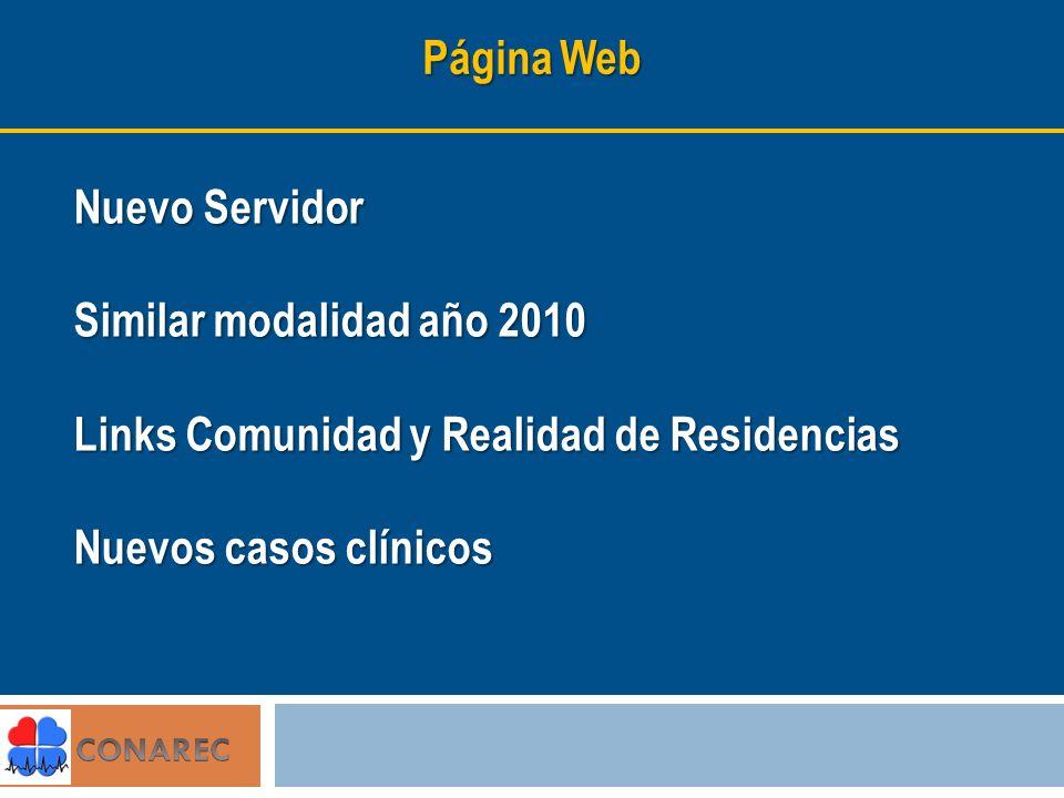 Página Web Nuevo Servidor Similar modalidad año 2010 Links Comunidad y Realidad de Residencias Nuevos casos clínicos