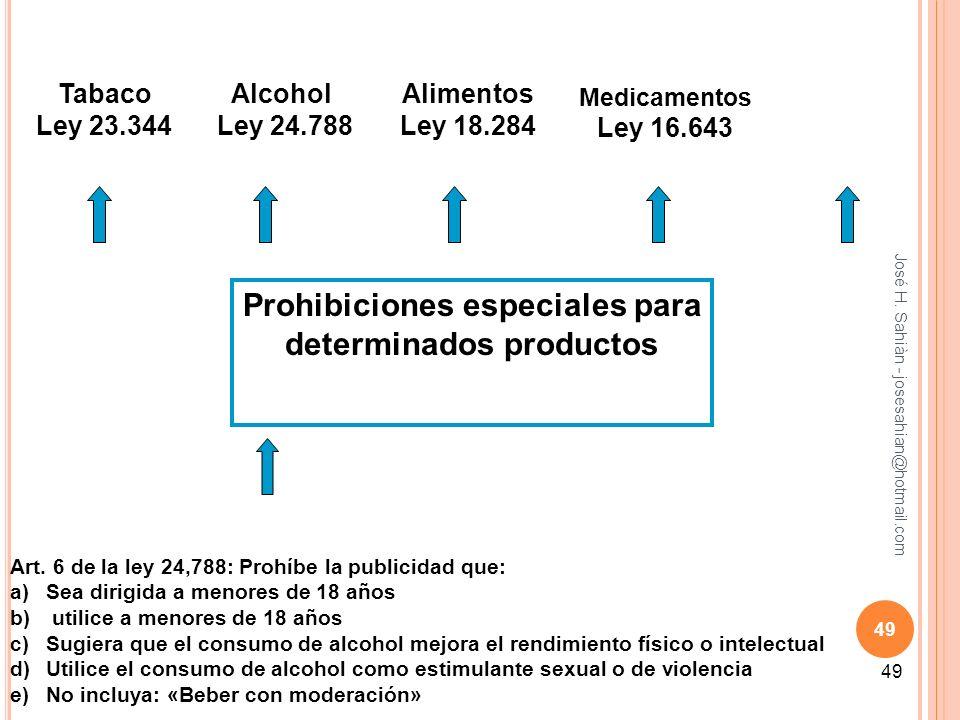 José H. Sahiàn - josesahian@hotmail.com 49 Prohibiciones especiales para determinados productos Tabaco Ley 23.344 Alcohol Ley 24.788 Alimentos Ley 18.