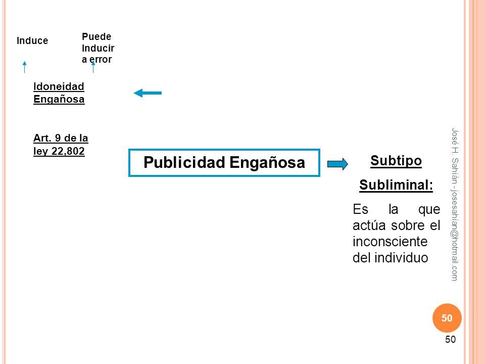 José H. Sahiàn - josesahian@hotmail.com 50 Publicidad Engañosa Idoneidad Engañosa Art. 9 de la ley 22,802 Induce Puede Inducir a error Subtipo Sublimi