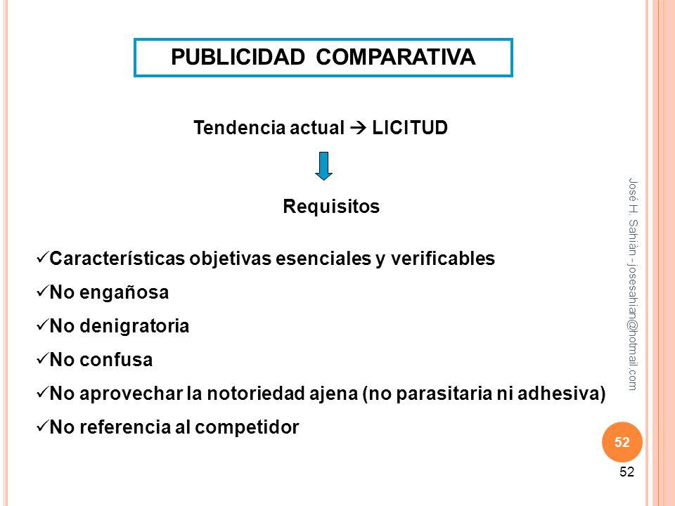 José H. Sahiàn - josesahian@hotmail.com 52 PUBLICIDAD COMPARATIVA Tendencia actual LICITUD Requisitos Características objetivas esenciales y verificab