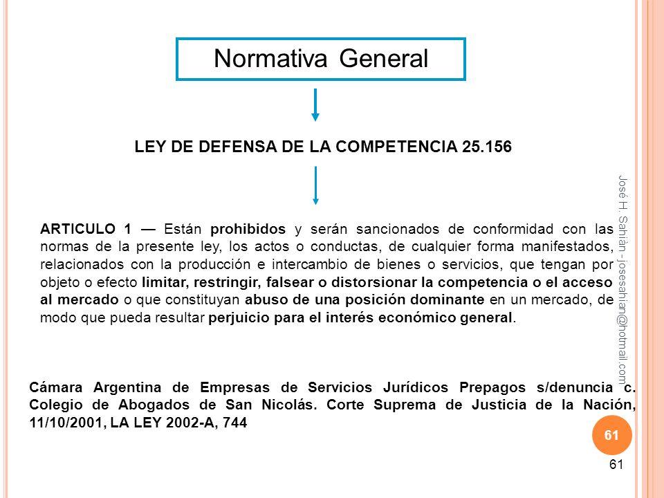 José H. Sahiàn - josesahian@hotmail.com 61 Normativa General LEY DE DEFENSA DE LA COMPETENCIA 25.156 ARTICULO 1 Están prohibidos y serán sancionados d