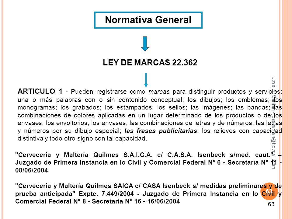 José H. Sahiàn - josesahian@hotmail.com 63 Normativa General LEY DE MARCAS 22.362 ARTICULO 1 - Pueden registrarse como marcas para distinguir producto