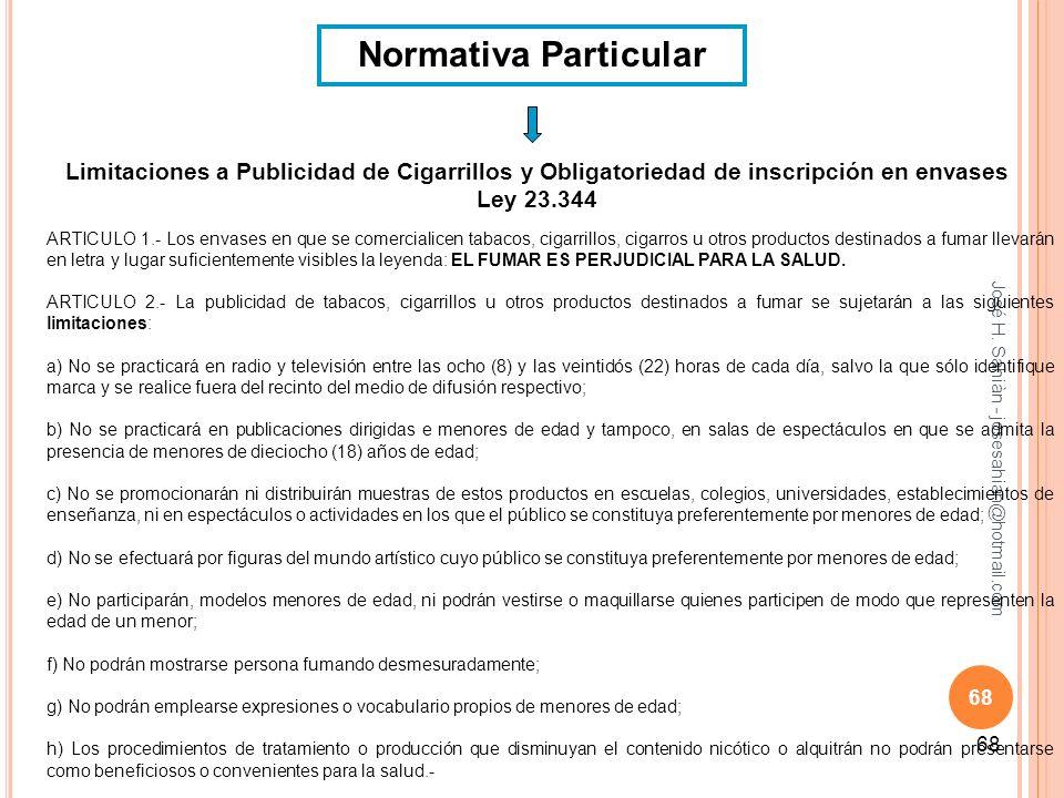 José H. Sahiàn - josesahian@hotmail.com 68 Normativa Particular Limitaciones a Publicidad de Cigarrillos y Obligatoriedad de inscripción en envases Le