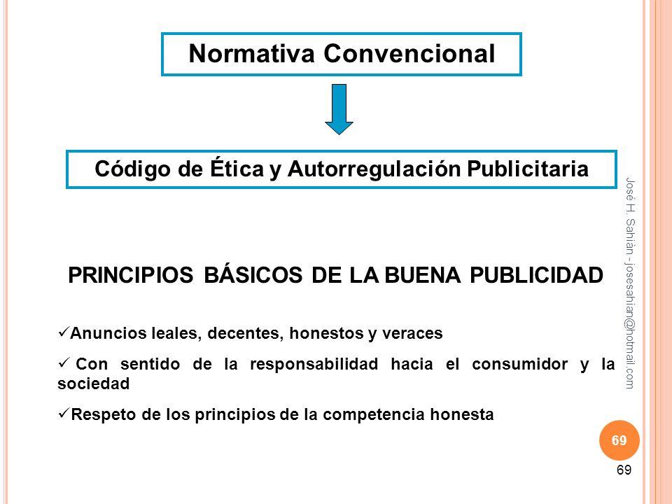 José H. Sahiàn - josesahian@hotmail.com 69 Normativa Convencional Código de Ética y Autorregulación Publicitaria PRINCIPIOS BÁSICOS DE LA BUENA PUBLIC