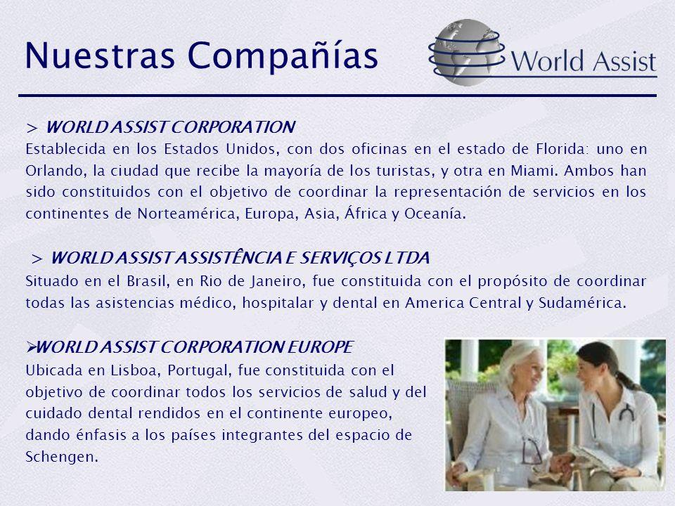 Nuestras Compañías > WORLD ASSIST CORPORATION Establecida en los Estados Unidos, con dos oficinas en el estado de Florida: uno en Orlando, la ciudad q