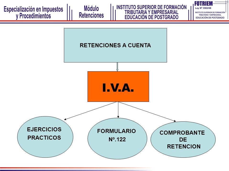 EJERCICIOS PRACTICOS FORMULARIO Nº.122 COMPROBANTE DE RETENCION RETENCIONES A CUENTA I.V.A.