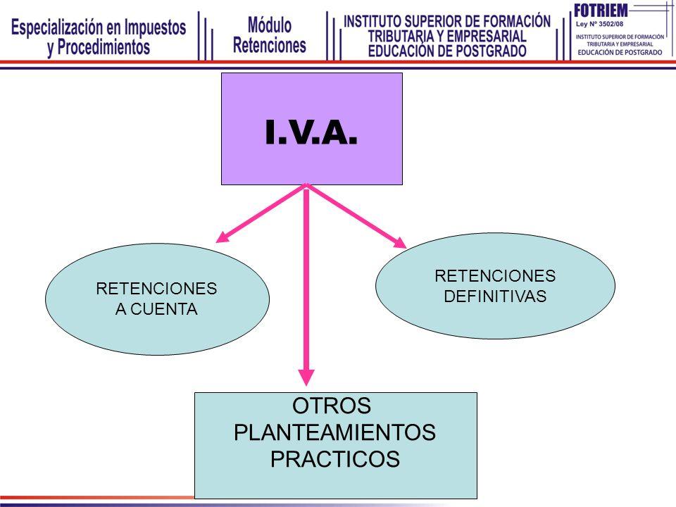 I.V.A. RETENCIONES A CUENTA RETENCIONES DEFINITIVAS OTROS PLANTEAMIENTOS PRACTICOS