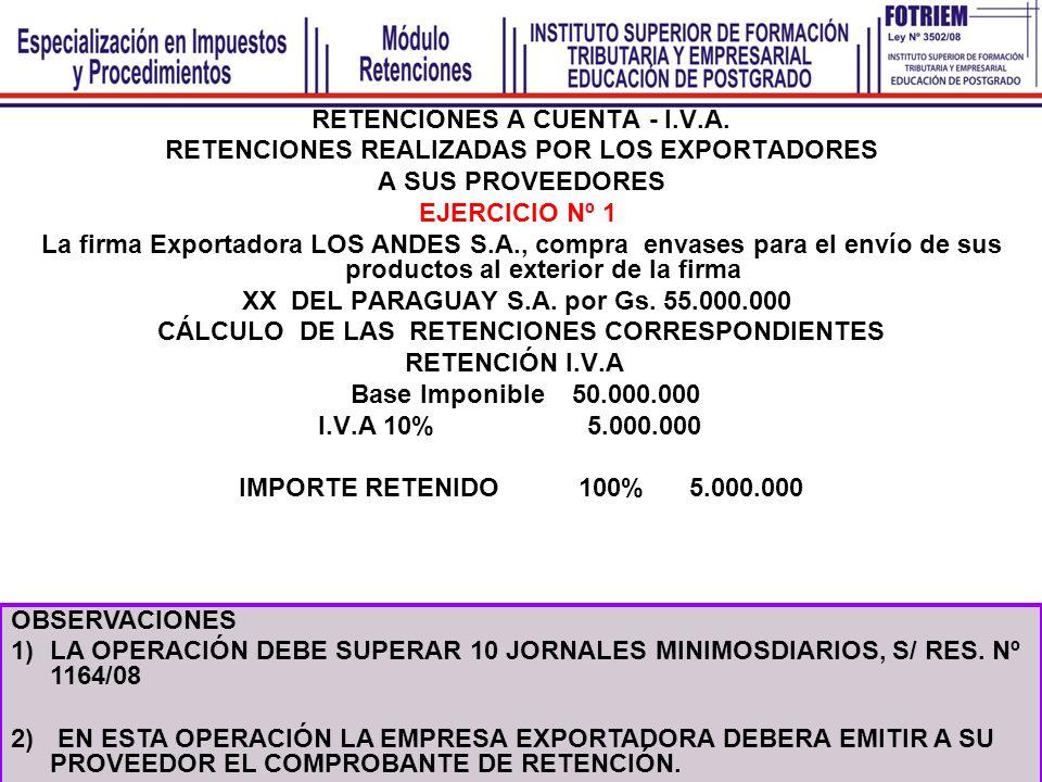 RETENCIONES A CUENTA - I.V.A. RETENCIONES REALIZADAS POR LOS EXPORTADORES A SUS PROVEEDORES EJERCICIO Nº 1 La firma Exportadora LOS ANDES S.A., compra