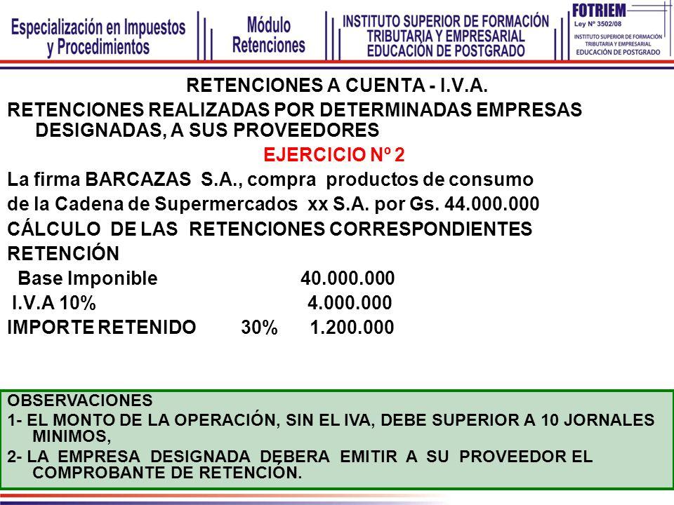 RETENCIONES A CUENTA - I.V.A. RETENCIONES REALIZADAS POR DETERMINADAS EMPRESAS DESIGNADAS, A SUS PROVEEDORES EJERCICIO Nº 2 La firma BARCAZAS S.A., co