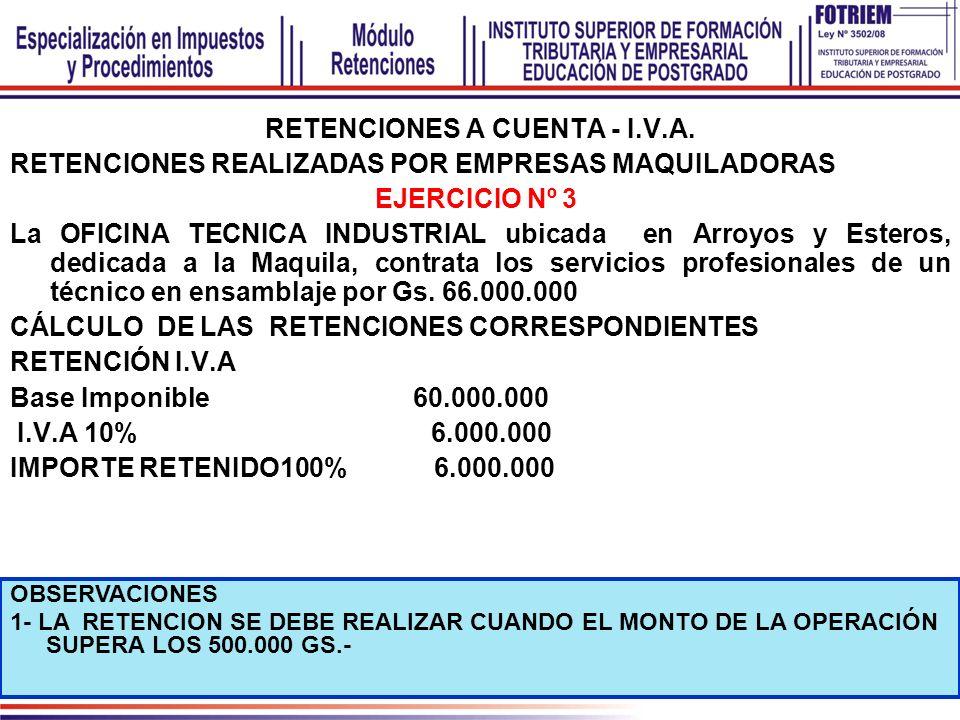 RETENCIONES A CUENTA - I.V.A. RETENCIONES REALIZADAS POR EMPRESAS MAQUILADORAS EJERCICIO Nº 3 La OFICINA TECNICA INDUSTRIAL ubicada en Arroyos y Ester