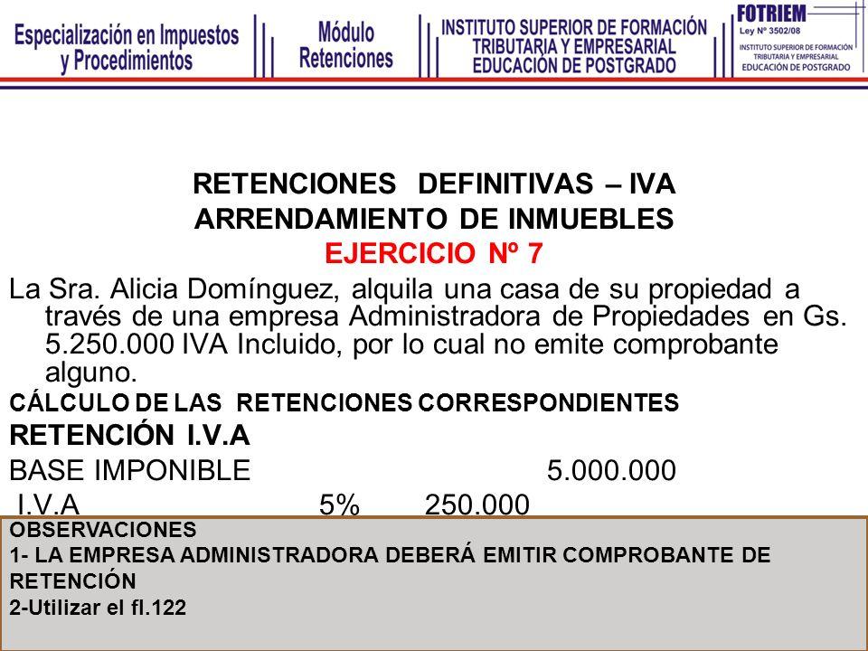 RETENCIONES DEFINITIVAS – IVA ARRENDAMIENTO DE INMUEBLES EJERCICIO Nº 7 La Sra. Alicia Domínguez, alquila una casa de su propiedad a través de una emp