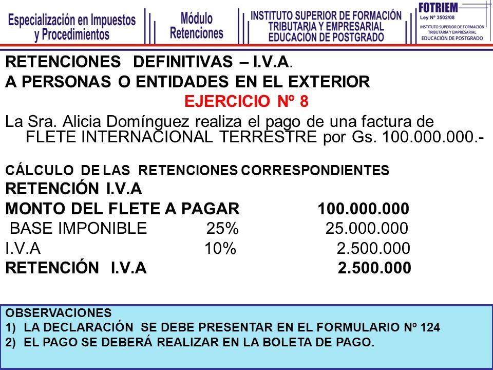 RETENCIONES DEFINITIVAS – I.V.A. A PERSONAS O ENTIDADES EN EL EXTERIOR EJERCICIO Nº 8 La Sra. Alicia Domínguez realiza el pago de una factura de FLETE